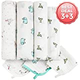 Baby Muslin Swaddle Blankets - 3+3 100% Cotton Receiving Blankets & ...